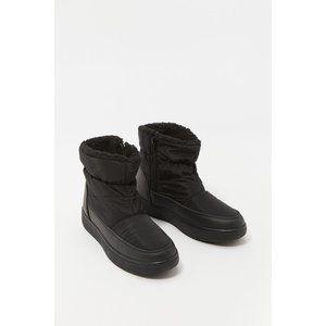 SWS Black Nylon Faux-Fur Puffer Boot